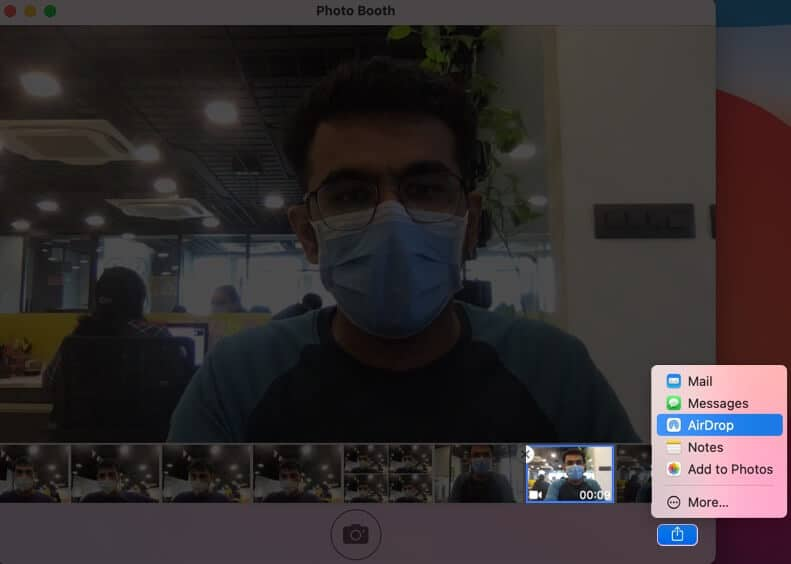 Select Video and Click on Share and Choose Preferred Option in Mac Photo Booth App