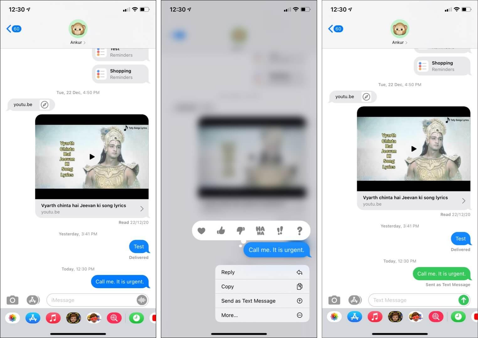 Send an iMessage as an SMS