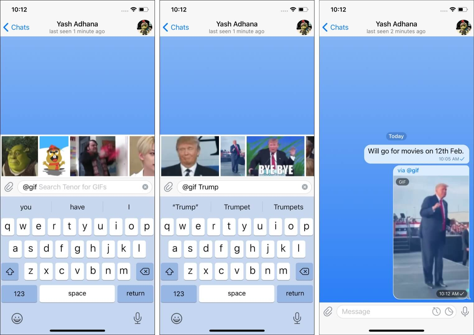 Send GIF images and YouTube videos quickly on Telegram