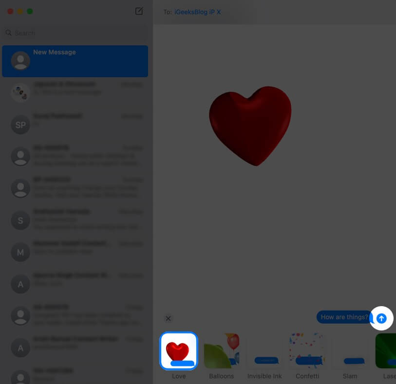 send message effects in imessage on mac running masos big sur