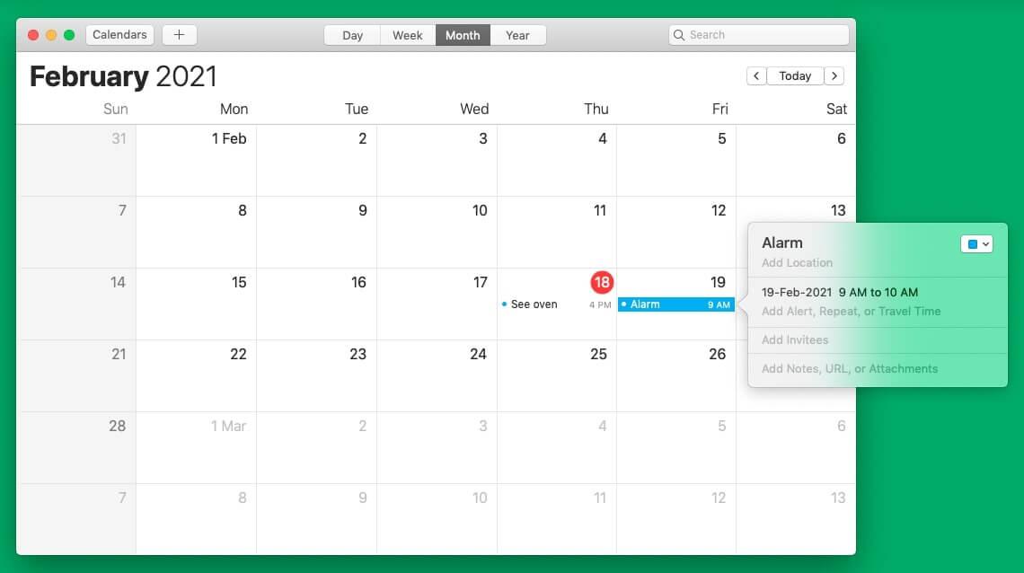 Set alarm on Mac using Calendar app