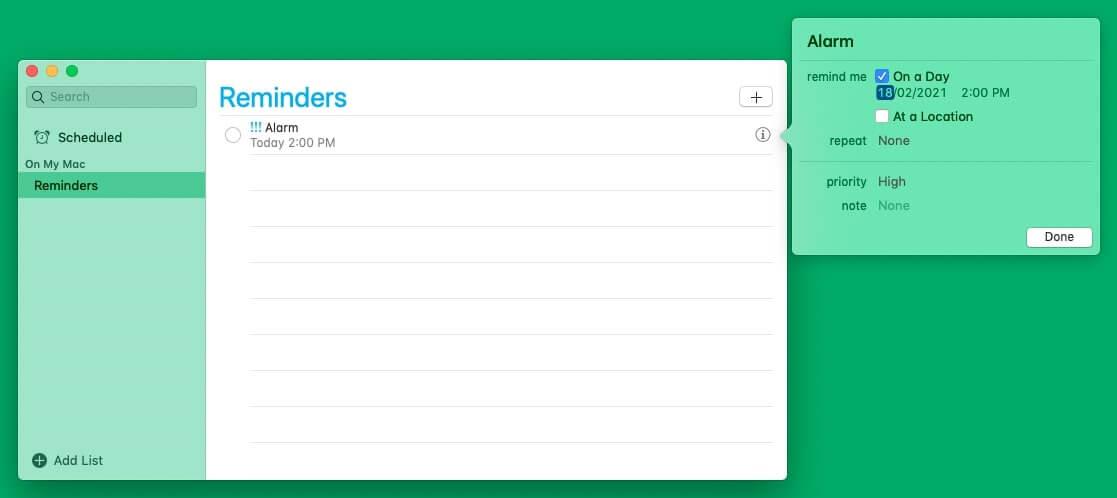 Set alarms on Mac using Reminders app