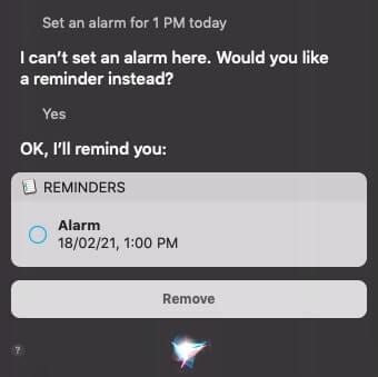Set an alarm on Mac using Siri
