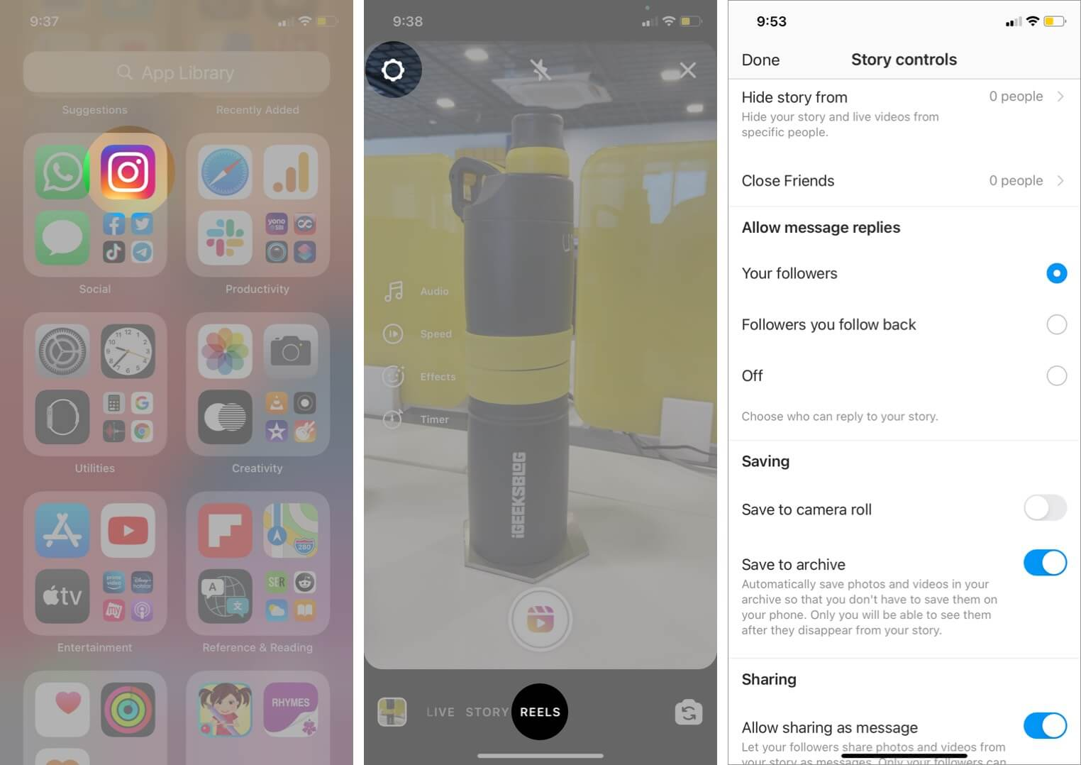 set reels privacy and sharing settings in instagram on iphone