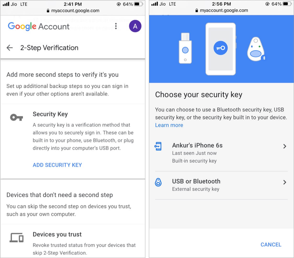Set Security Key for Google two step verification