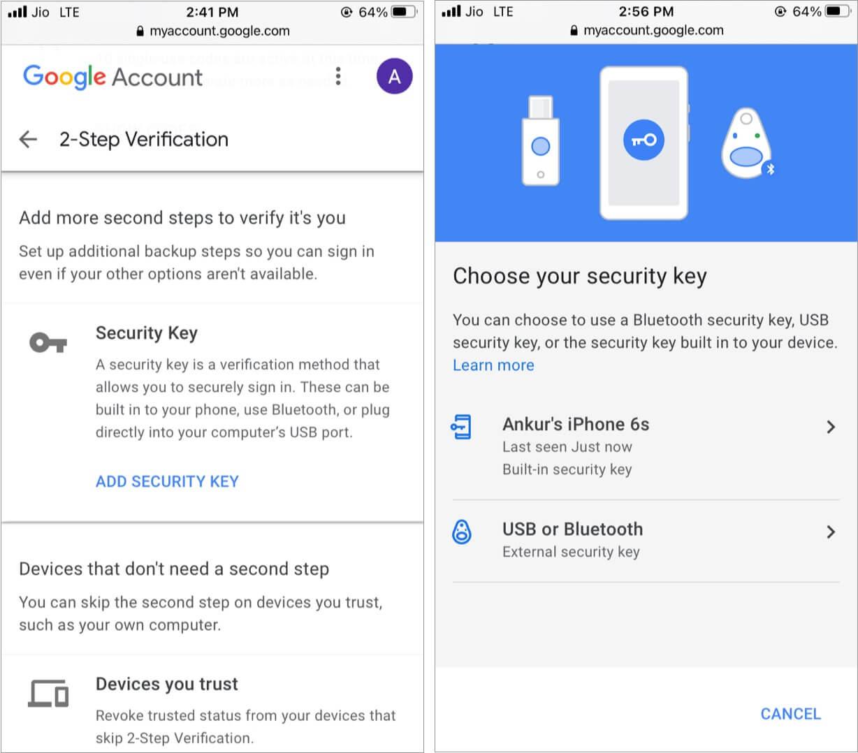 Установить электронный ключ для двухэтапной аутентификации Google