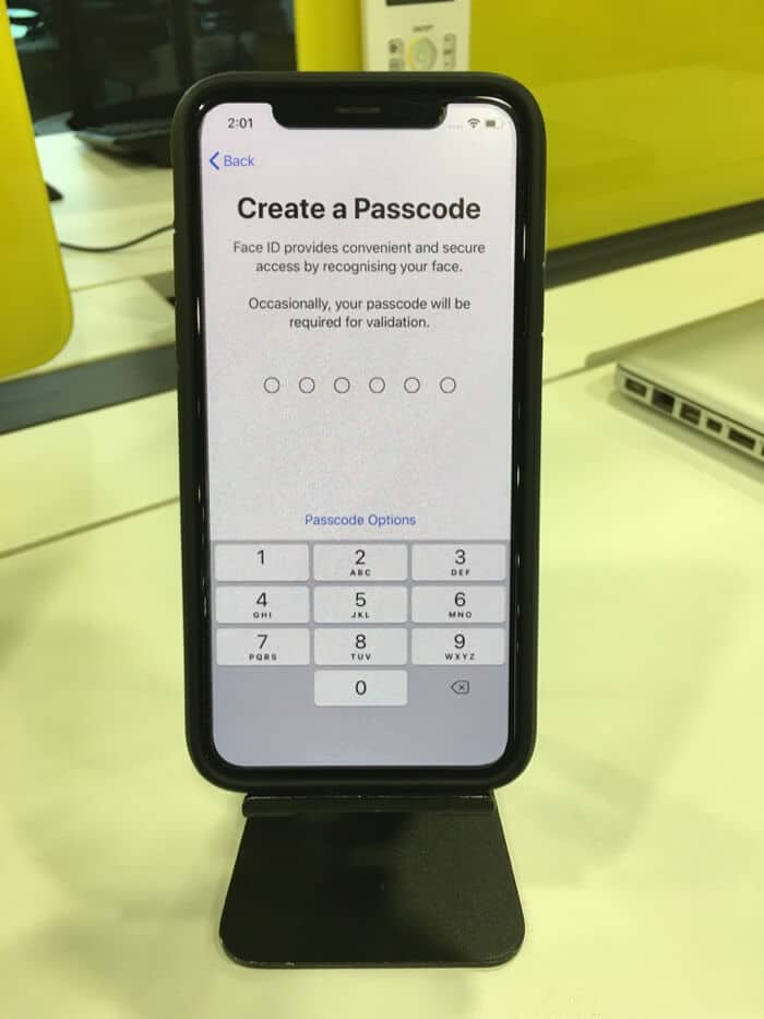 set up iphone passcode