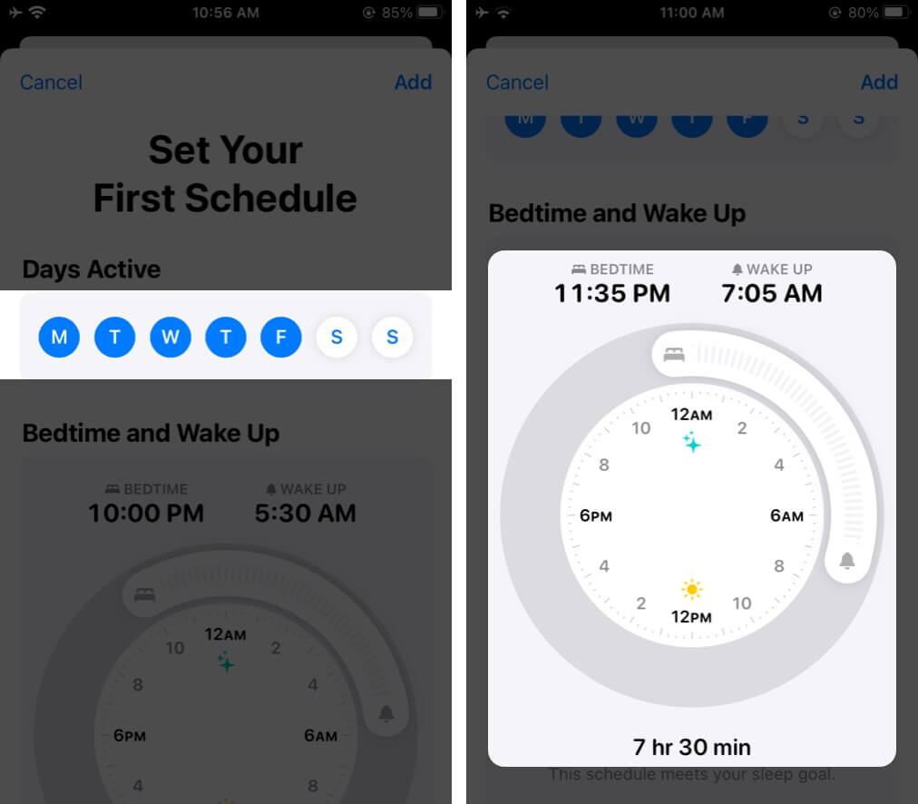 Set your Bedtime and Wake up Schedule in Health App on iPhone
