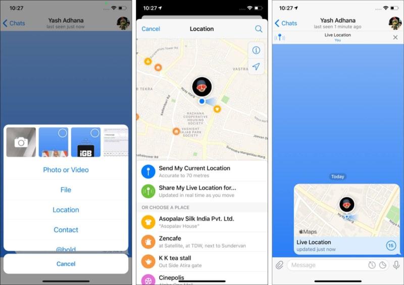 Share live location on Telegram