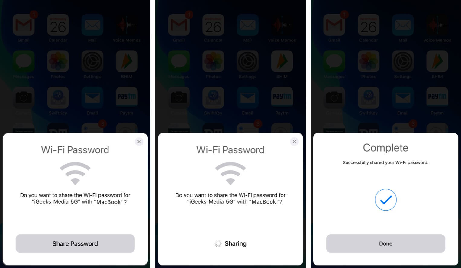 share wi-fi password from iphone to mac