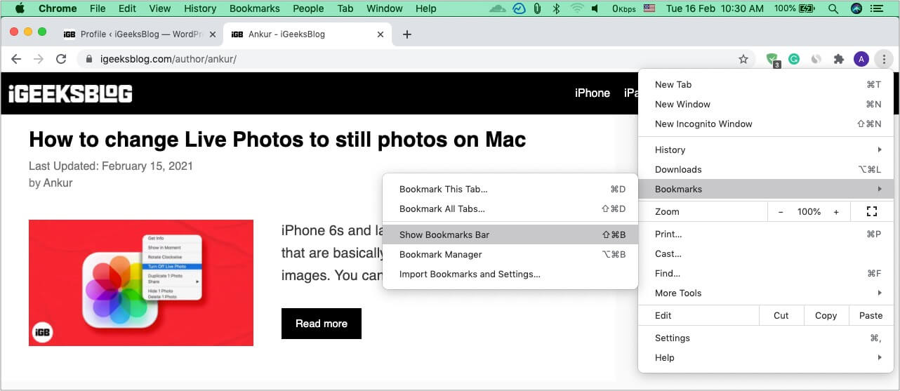 Show or hide Chrome bookmarks bar on Mac