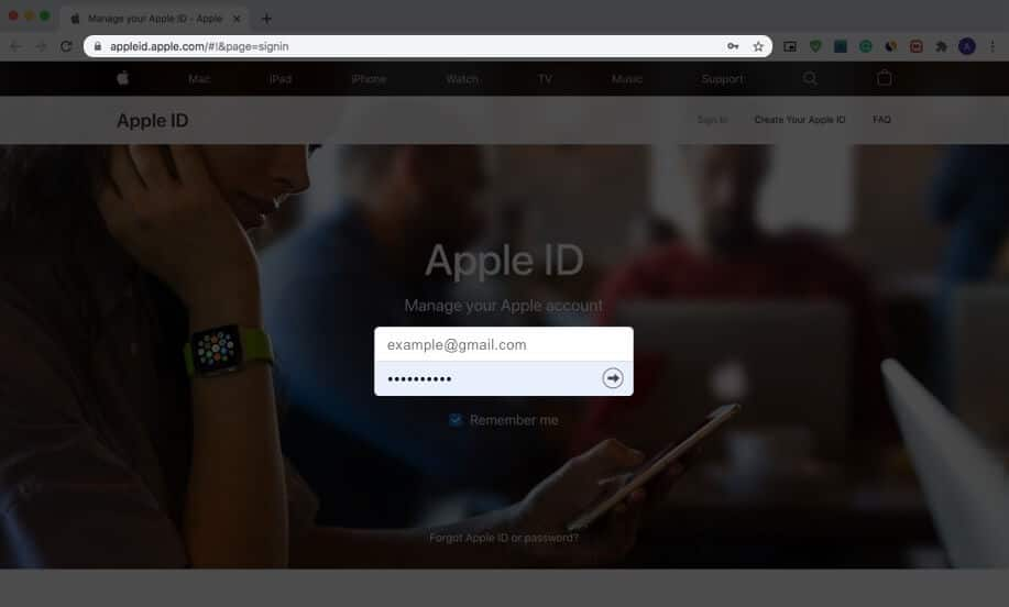 sign in with apple id on appleid website