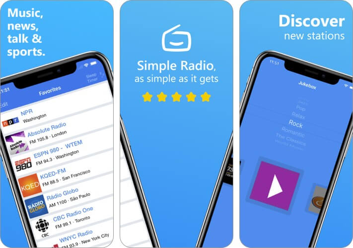 simple radio iphone and ipad app screenshot