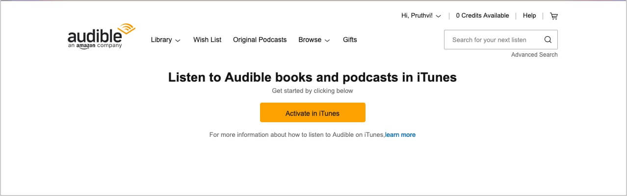 Sing in using Audible and Click Activate in iTunes