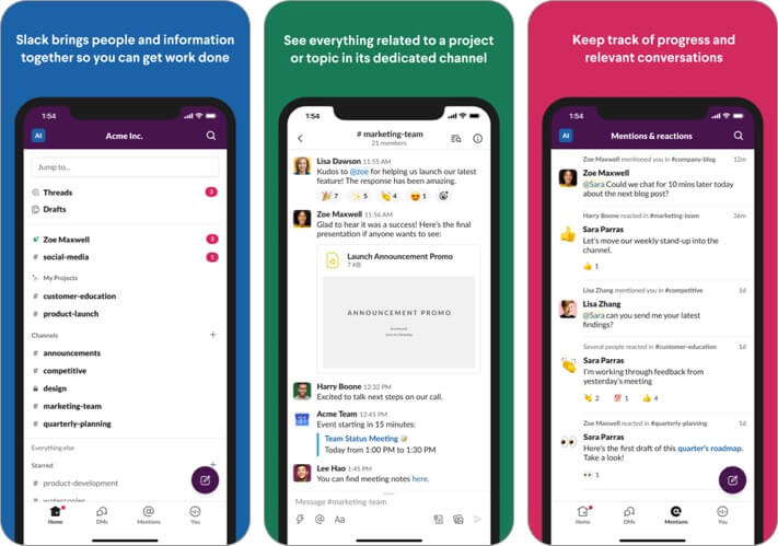 slack iphone and ipad team management app screenshot