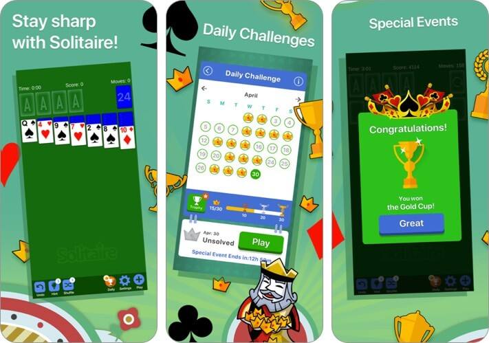 Solitaire iPhone and iPad Card Game Screenshot