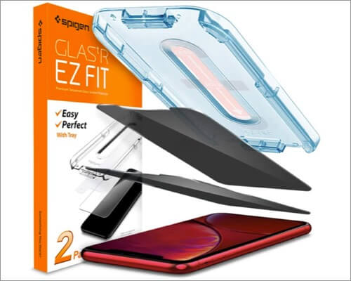 spigen tempered glass privacy protector for iphone xr