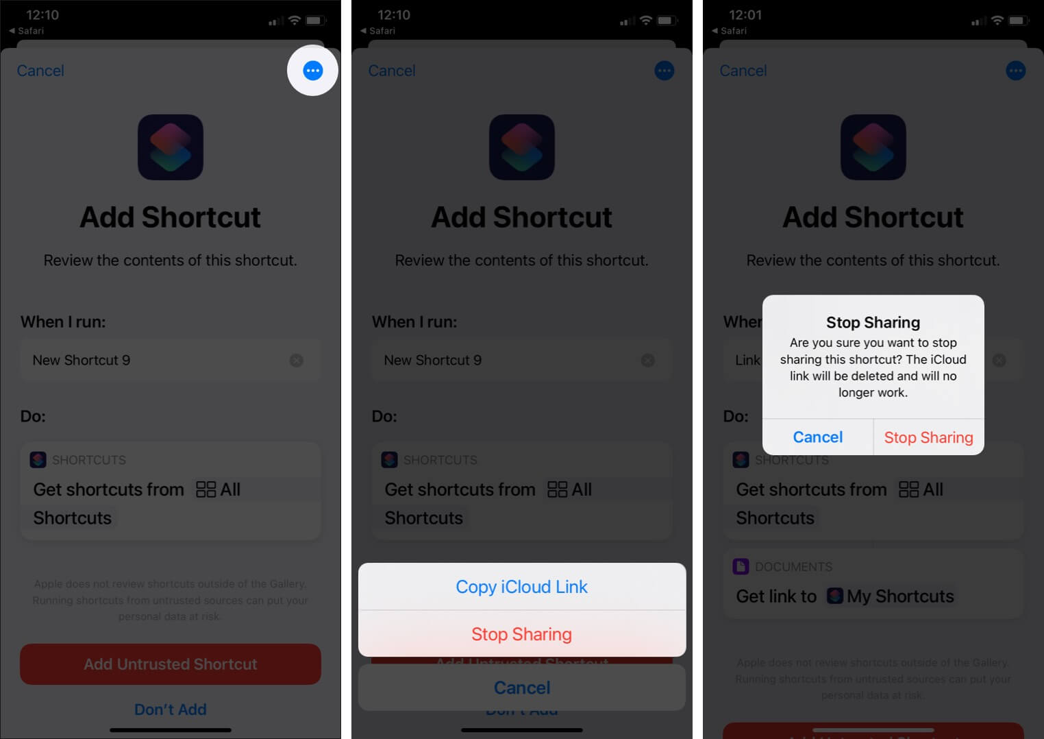 Stop Sharing a Shortcut from iPhone