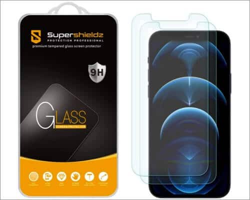 SuperShieldz Tempered Glass Screen Protector iPhone 12 and 12 Pro