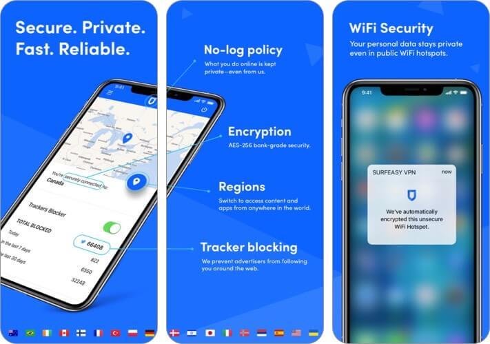 surfeasy iphone and ipad vpn app screenshot