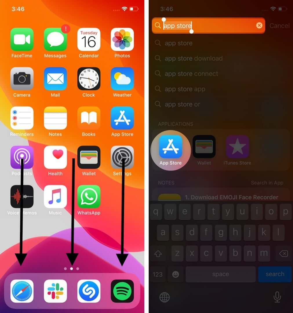 swipe down on iphone home screen and search for app store