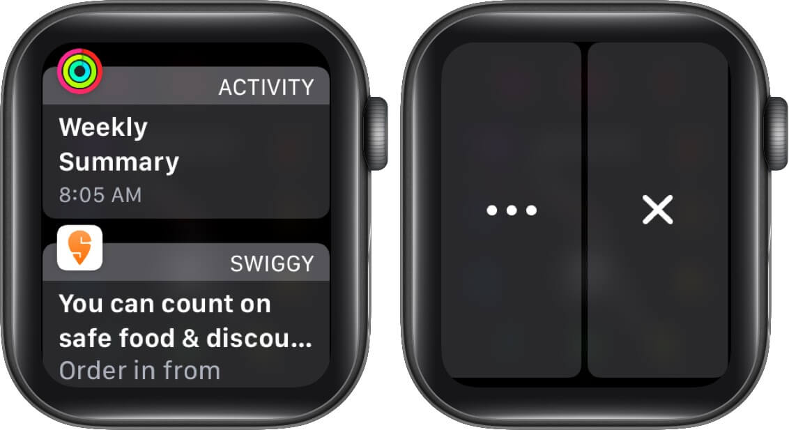 swipe left on notification and tap on x to delete nofitication on apple watch