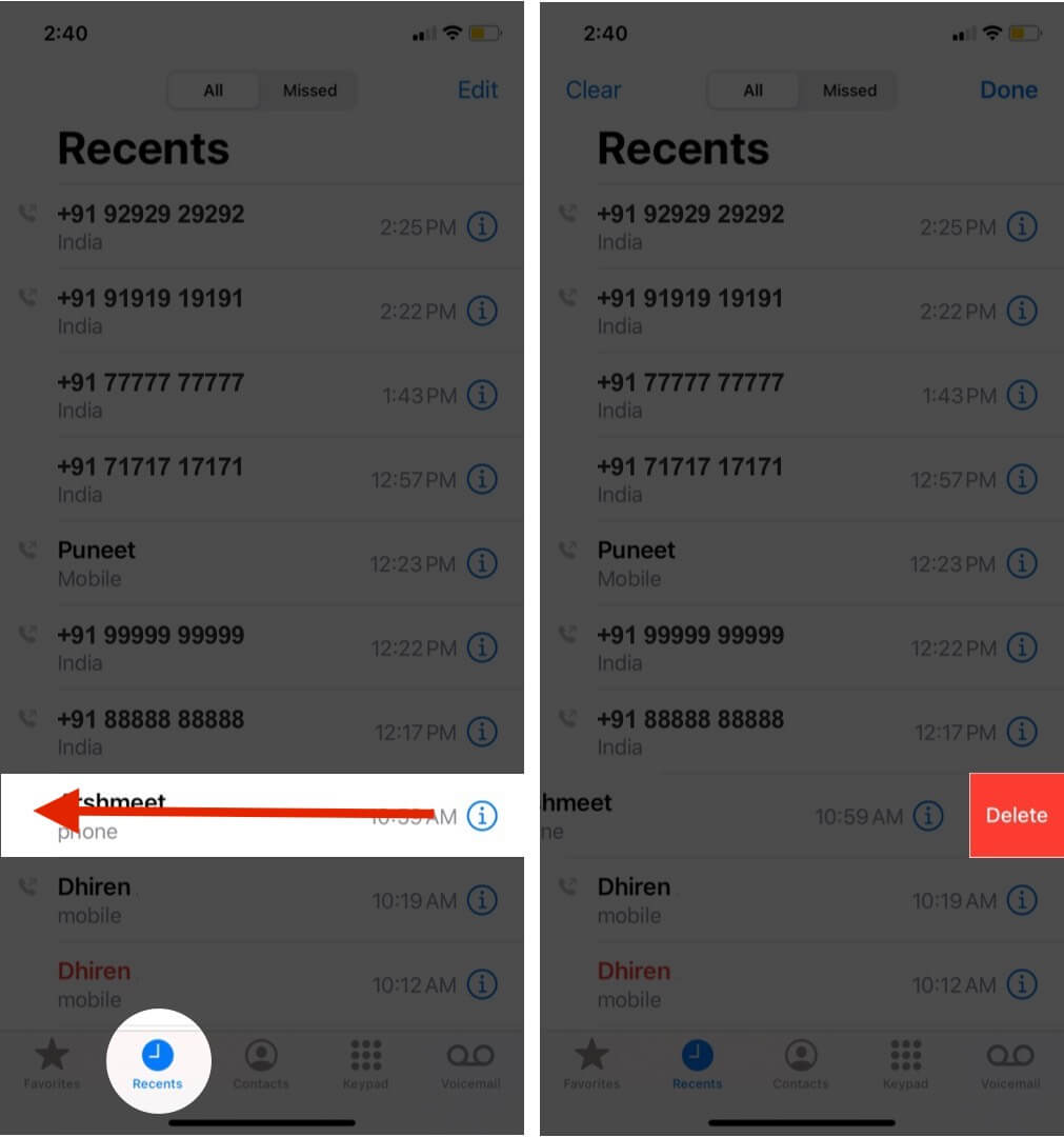 swipe left on number and tap on delete to remove specific call history on iphone