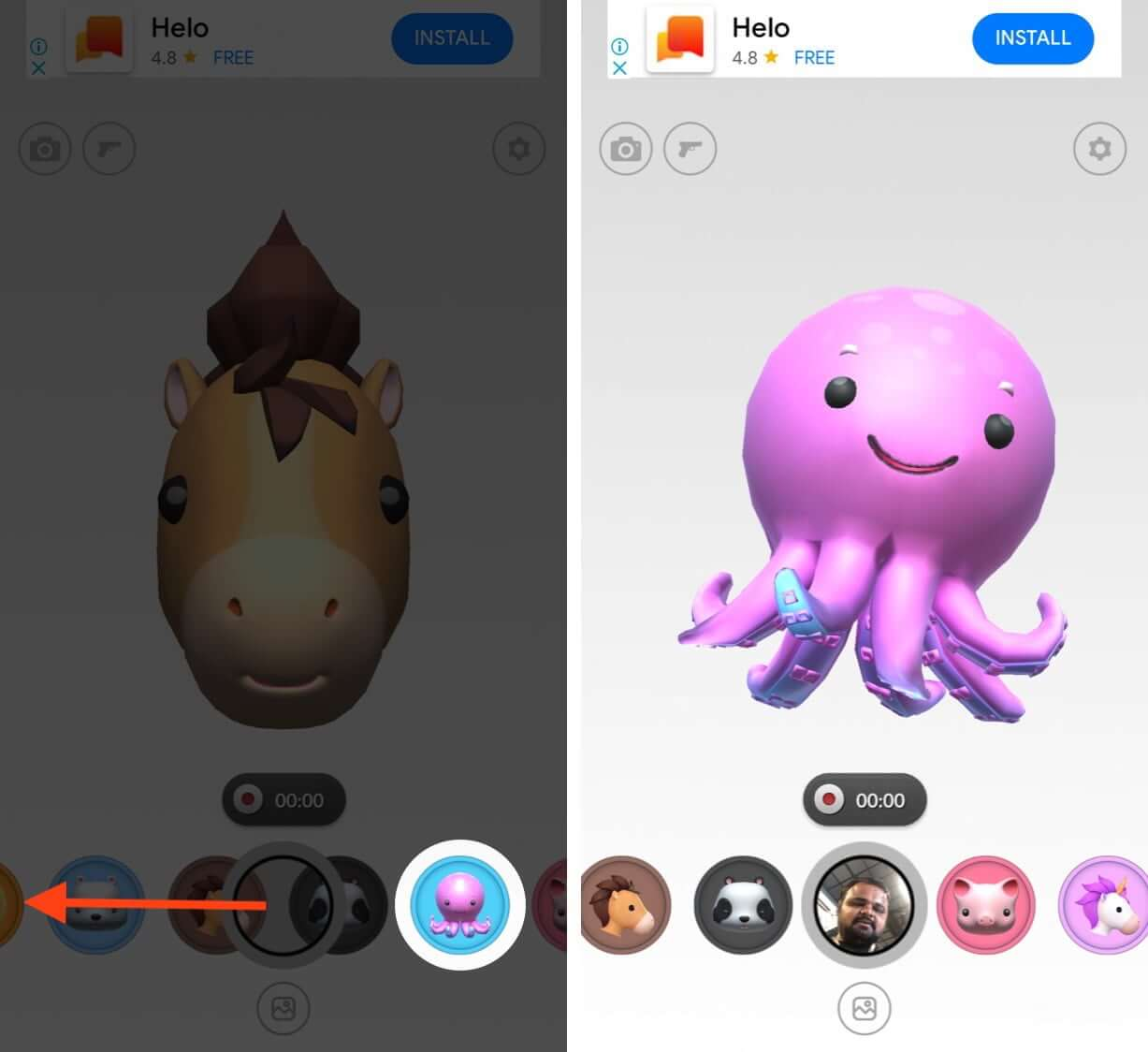 swipe left or right to select animoji