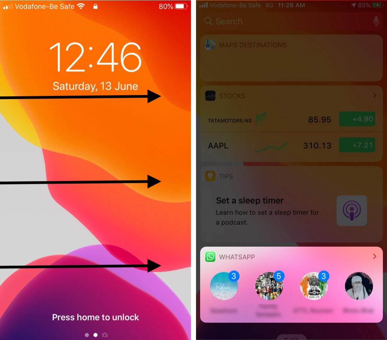 swipe left to right on iphone lock screen to view whatsapp widget
