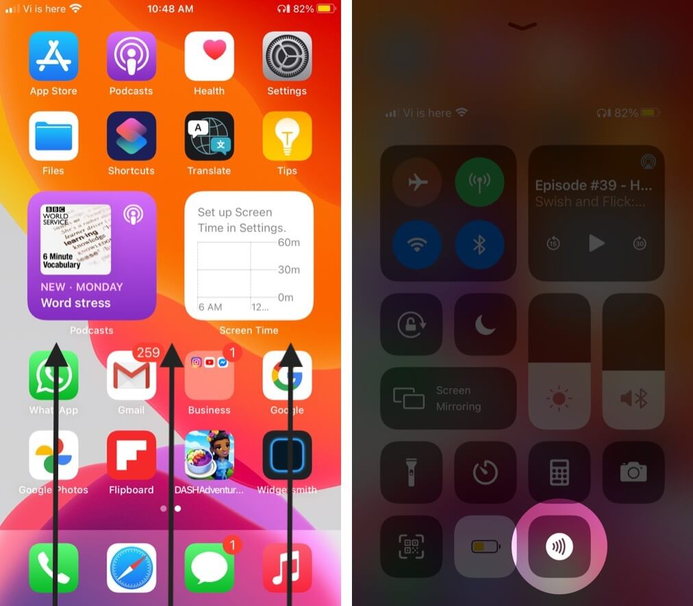 swipe up to open control center and tap on nfc tag button on iphone