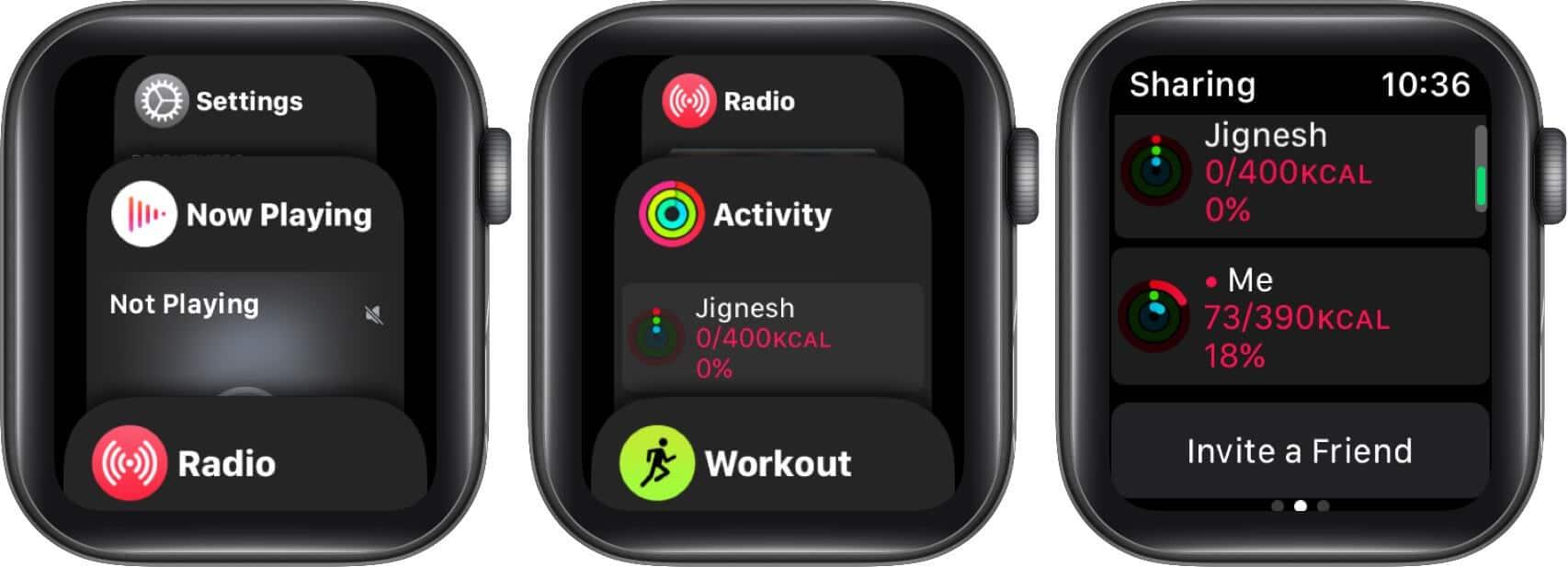 switch between apps in app switcher on apple watch