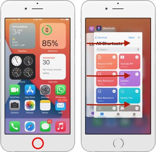 switch between apps on iphone with home button