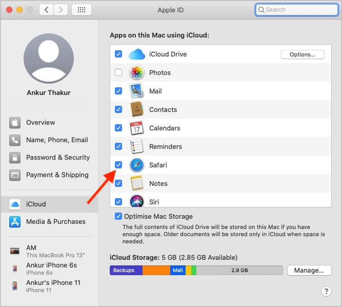 Синхронизация списка просмотра и чтения Safari на устройствах Mac