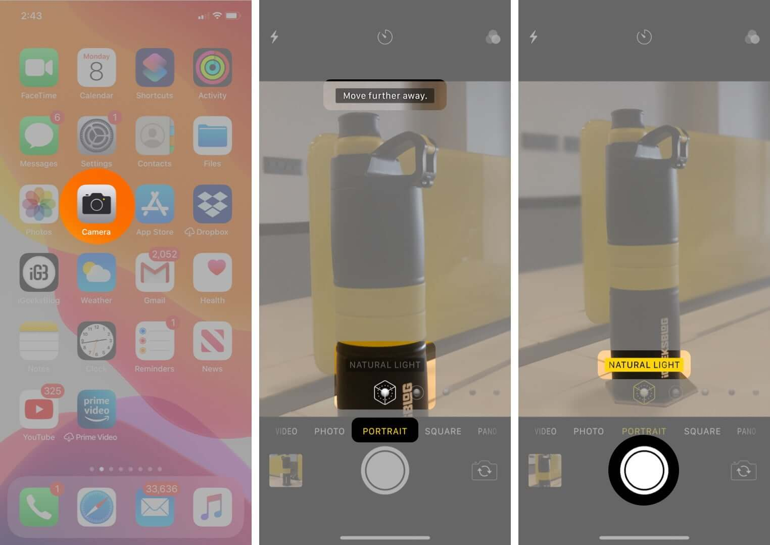 take portrait mode photos on iphone