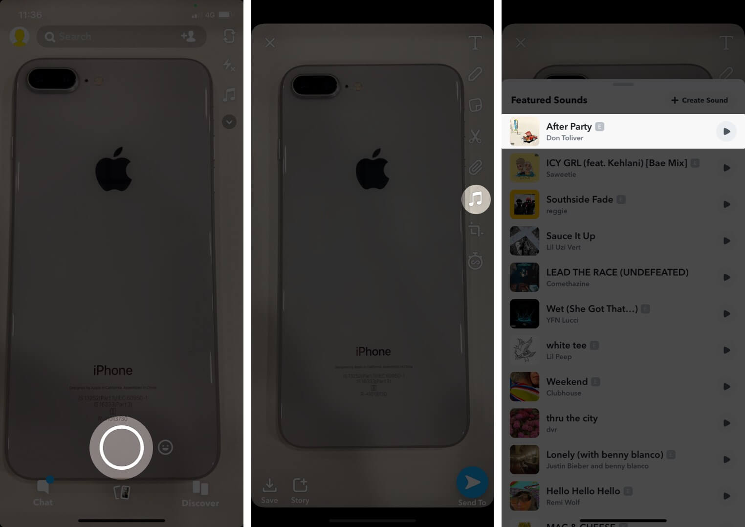 Take Snap Tap on Music and Then Tap on Song in Snapchat on iPhone