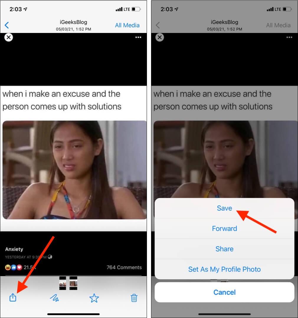 Tippen Sie auf ein Bild oder Video, tippen Sie auf das Symbol Teilen und wählen Sie Speichern