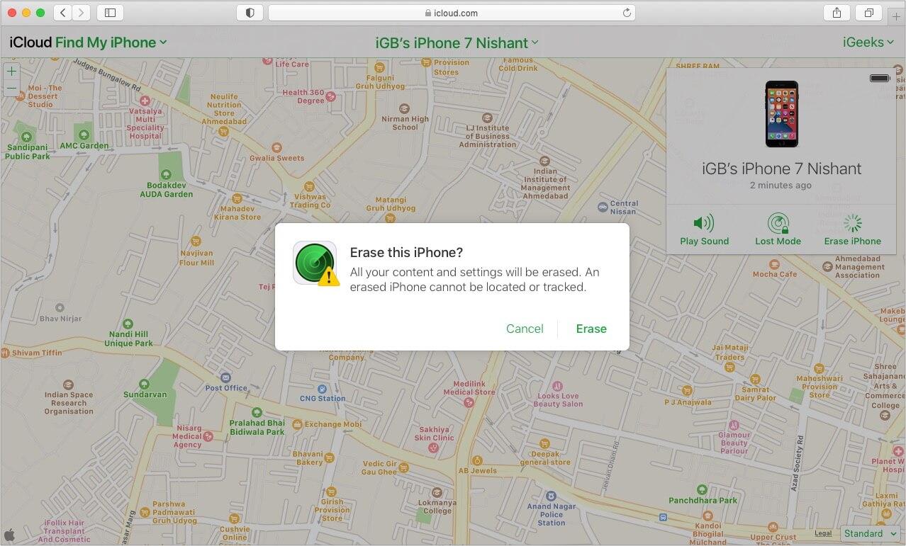 Tap Erase to fix Disabled iPhone via iCloud