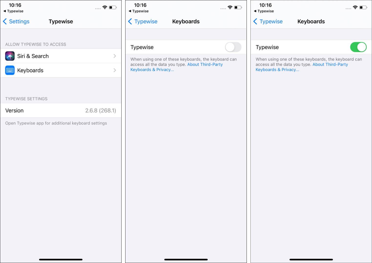 Tap Keyboards in Settings app and enable Typewise