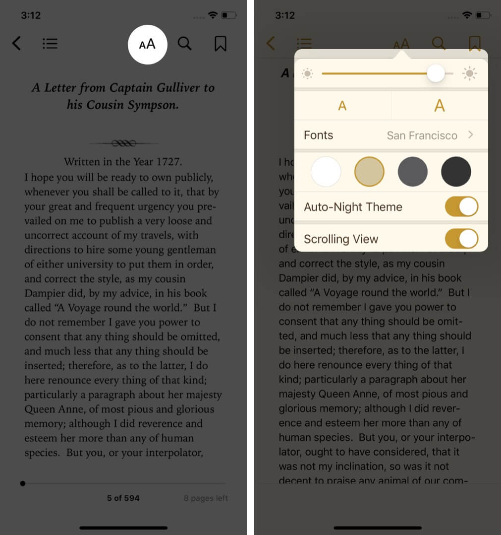 tap on aa and change options to customize reading in books app on iphone