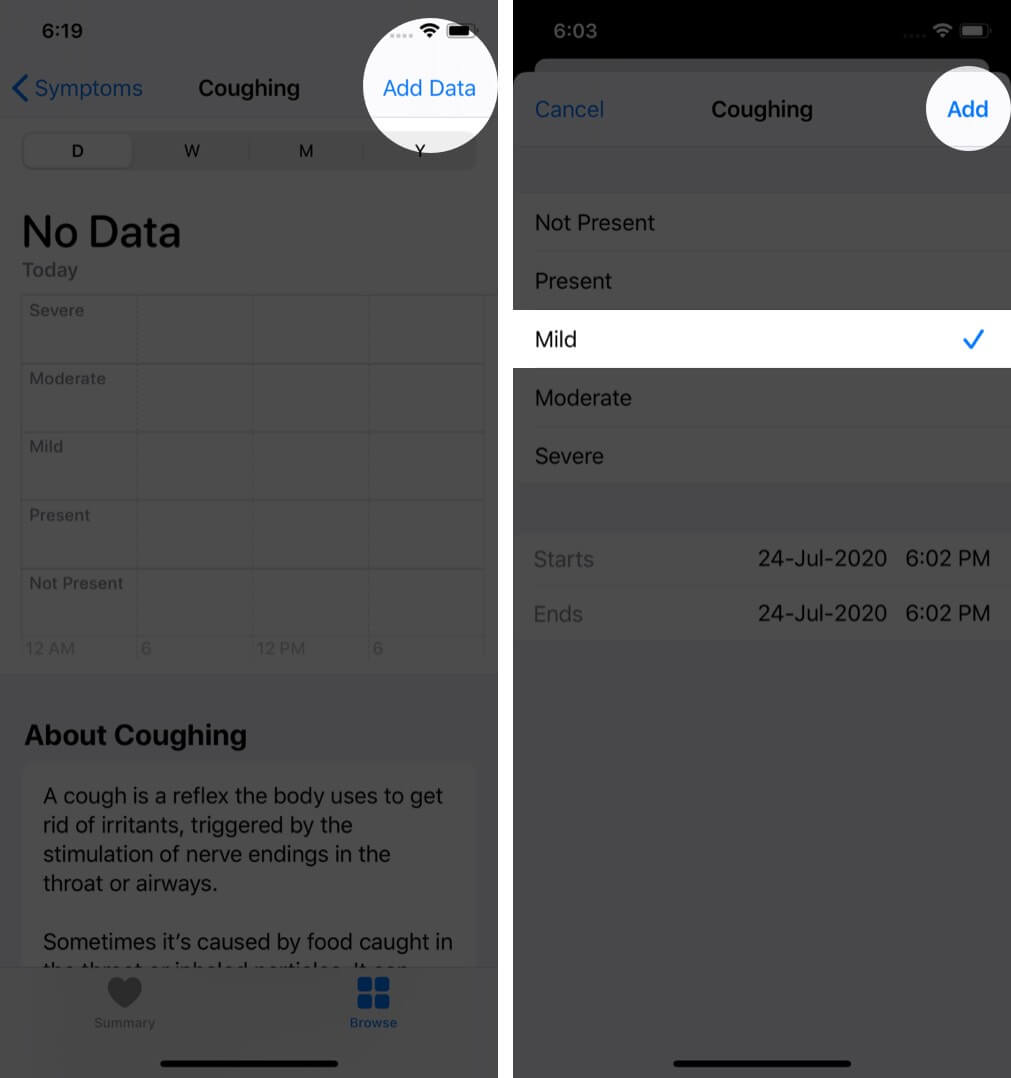 tap on add data select contition and tap on add to track symptoms in health app on iphone