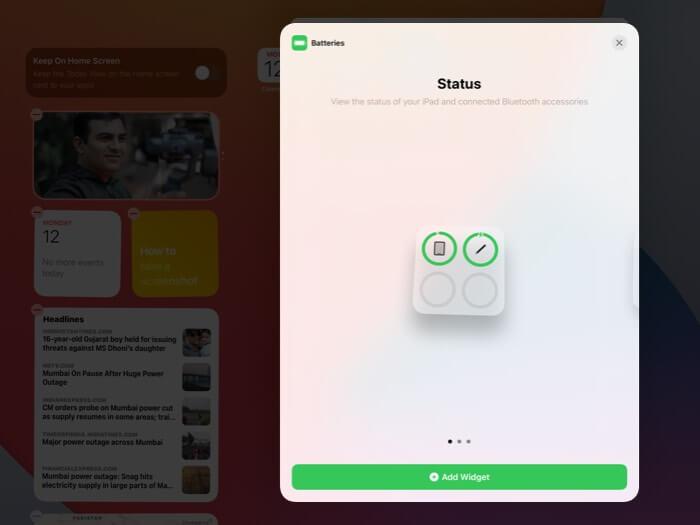 Tap on Add Widget on iPad
