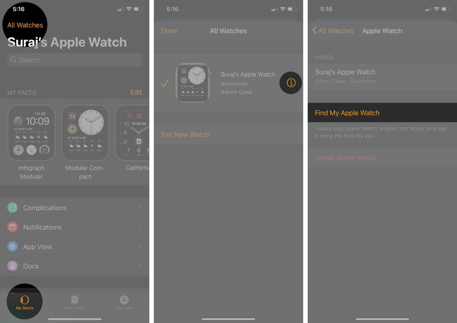 Tippen Sie auf alle Uhren in meinem Uhren-Tab. Tippen Sie auf i und dann auf Meine Apple-Uhr in der Uhren-App auf dem iPhone suchen