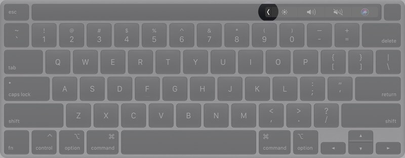 Tap on Arrow in Touch Bar on Mac
