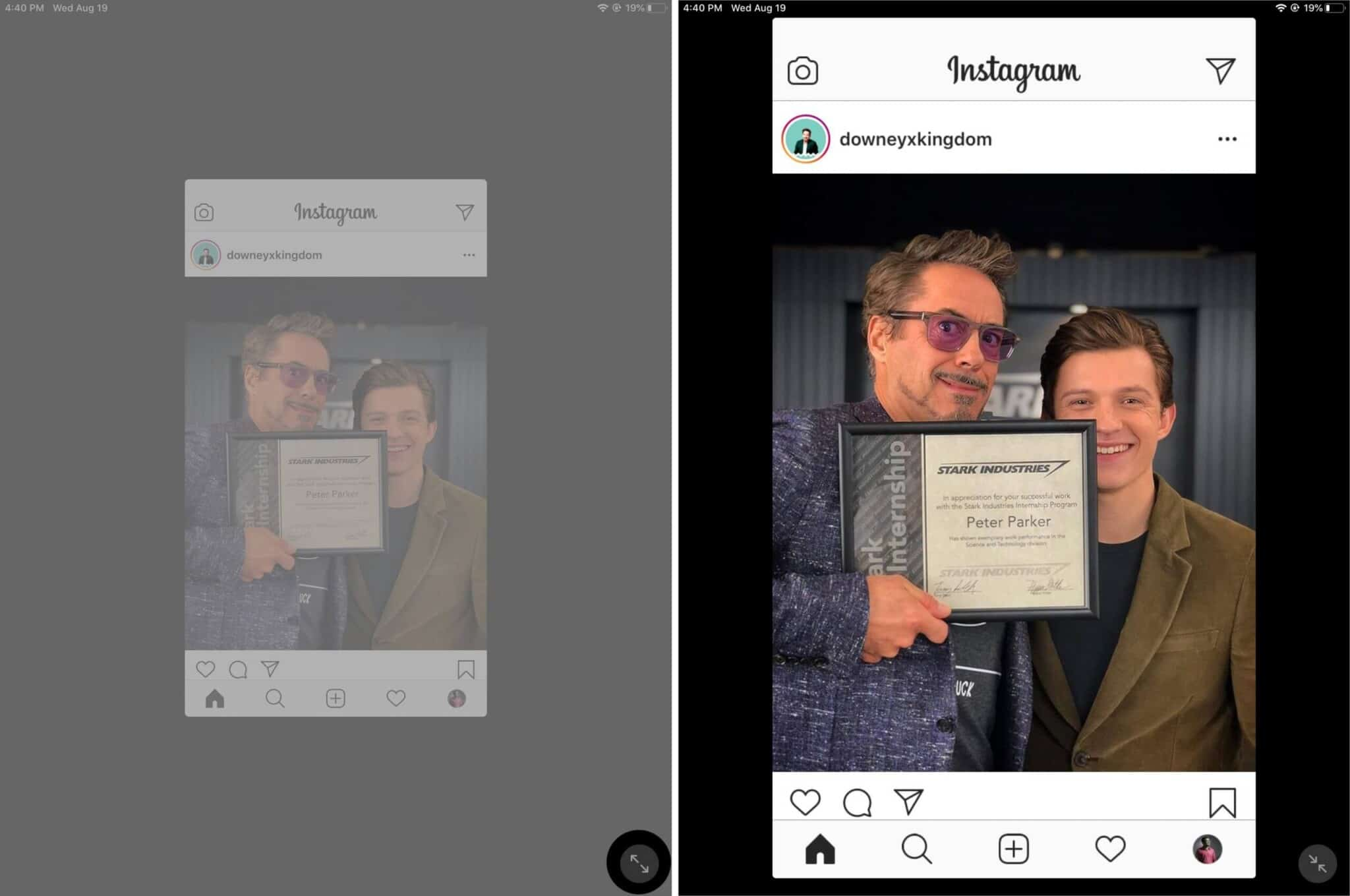 tap on arrow to zoom in to intagram app on ipad