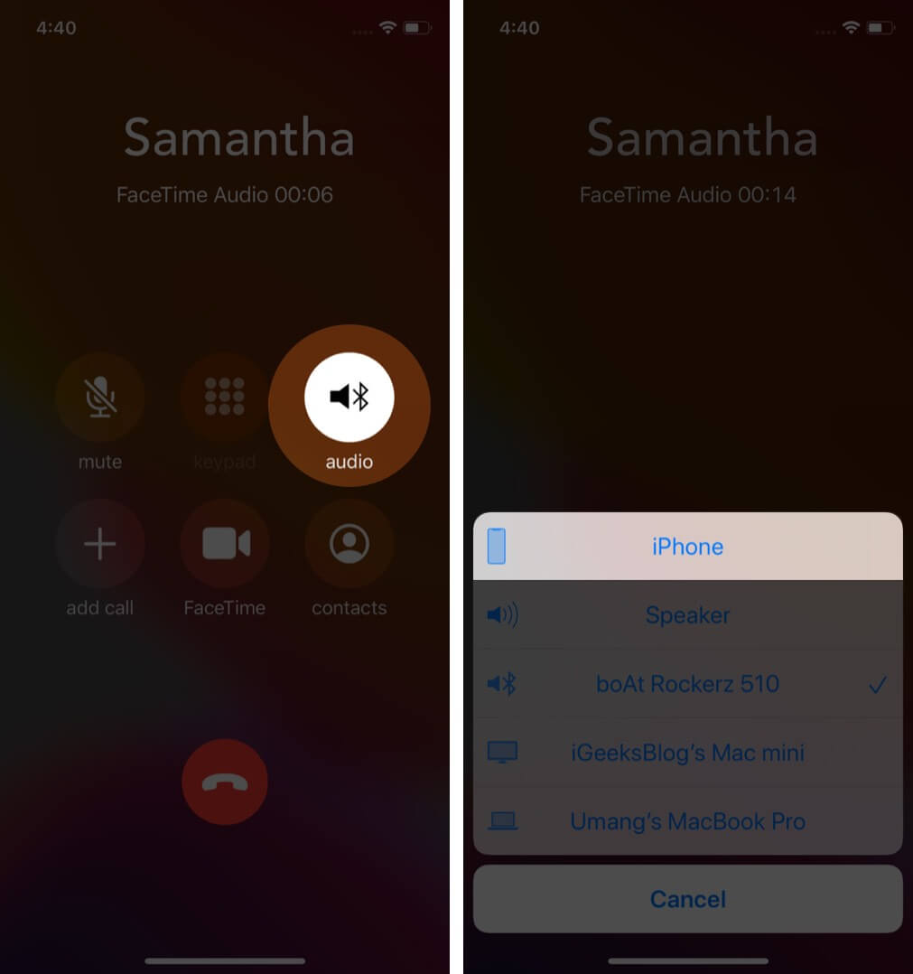 tap on audio and select iphone to switch between iphone and bluetooth speaker during call