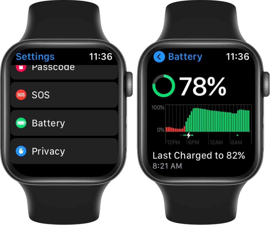 tap on battery in watchos 7 on apple watch