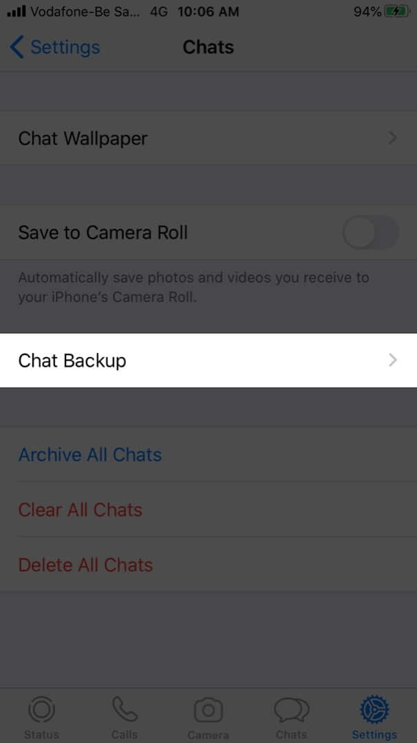 tap on chat backup in whatsapp settings on iphone