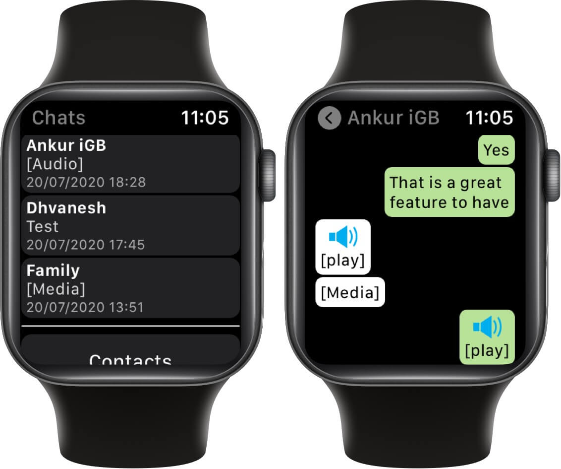 tap on chat to read whatsapp messages on apple watch