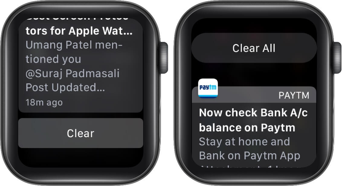 tap on clear and then tap on clear all to delete multiple notifications on apple watch