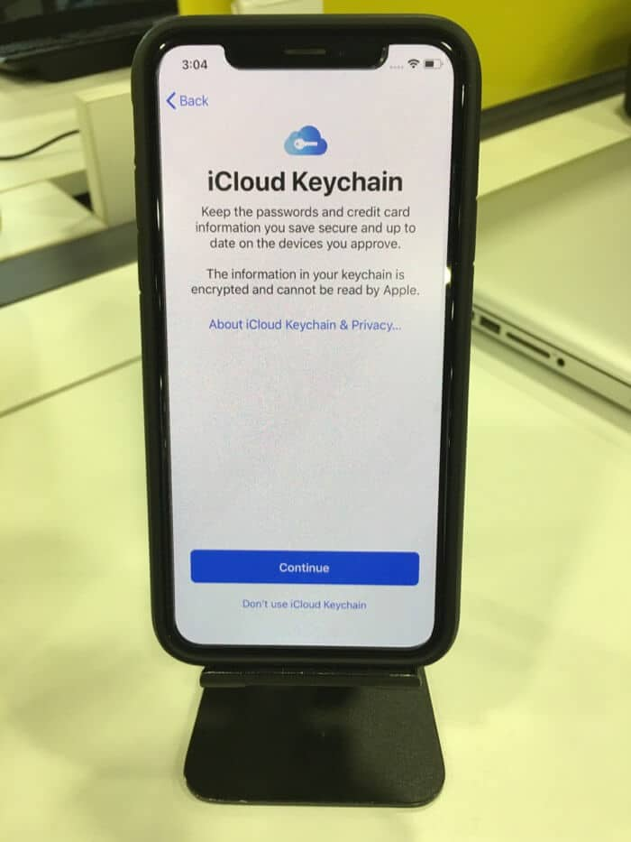 tap on continue on icloud keychain screen
